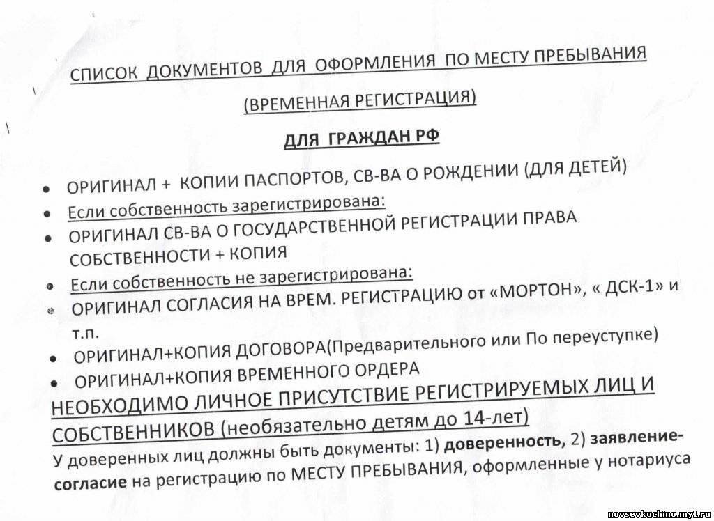 Список документов для прописки в квартиру быть